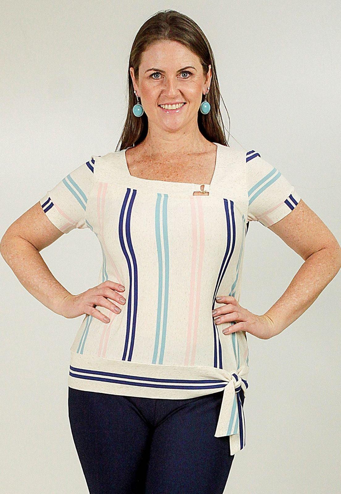 Blusa Bea Abdalla Listrada  Branco/Azul
