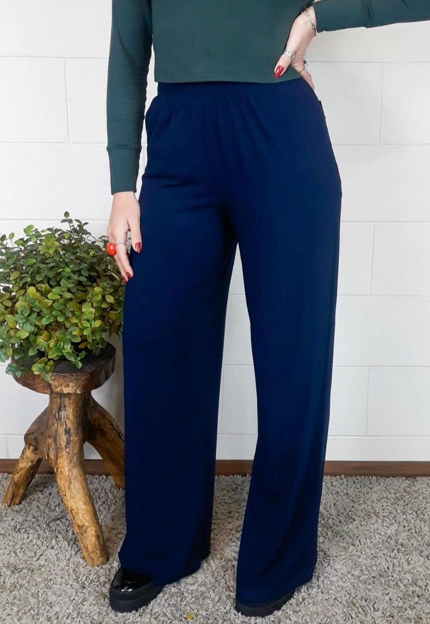Pantalona Bea Abdalla Com Bolsos Azul Marinho