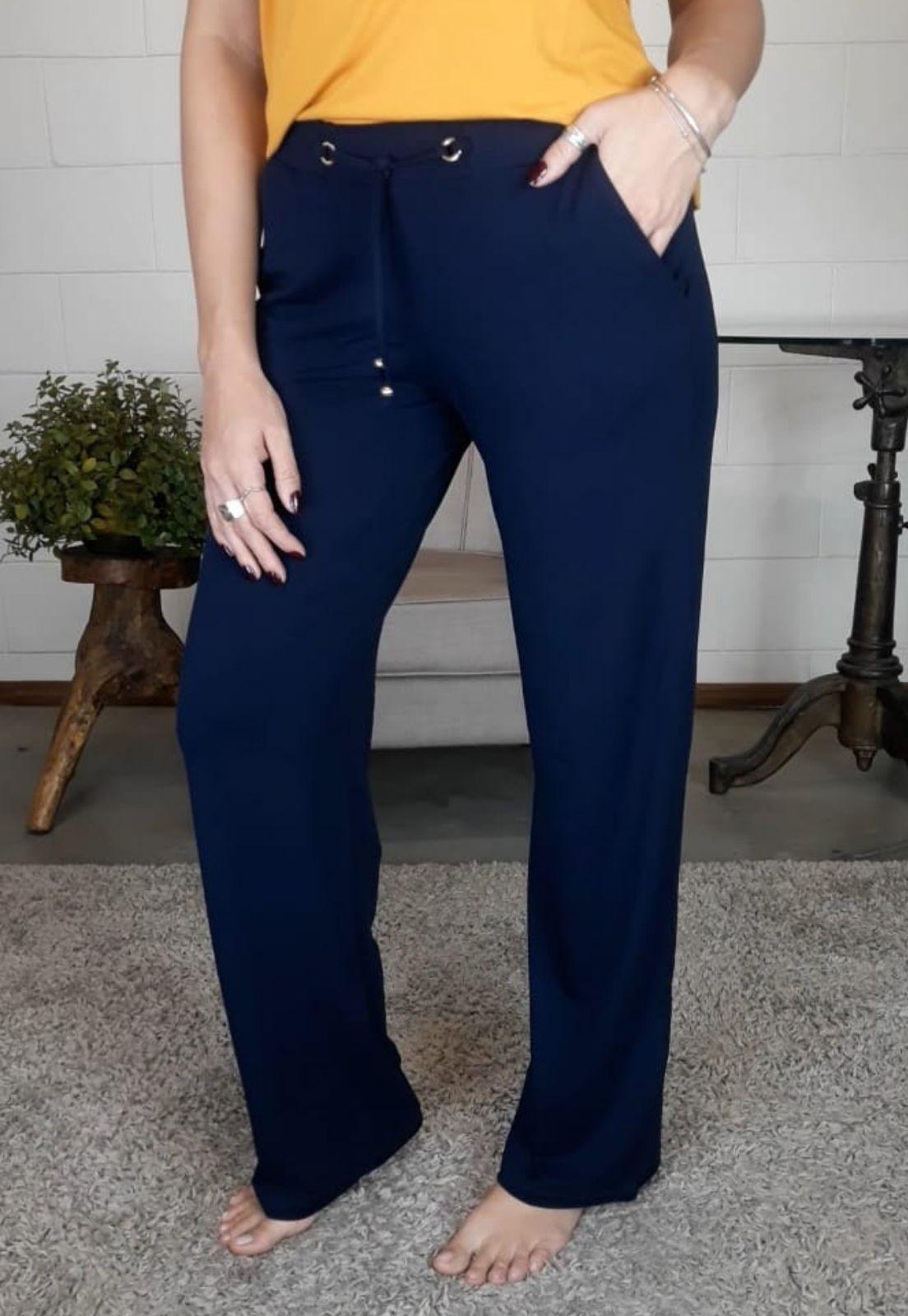 Pantalona Bea Abdalla Azul Marinho