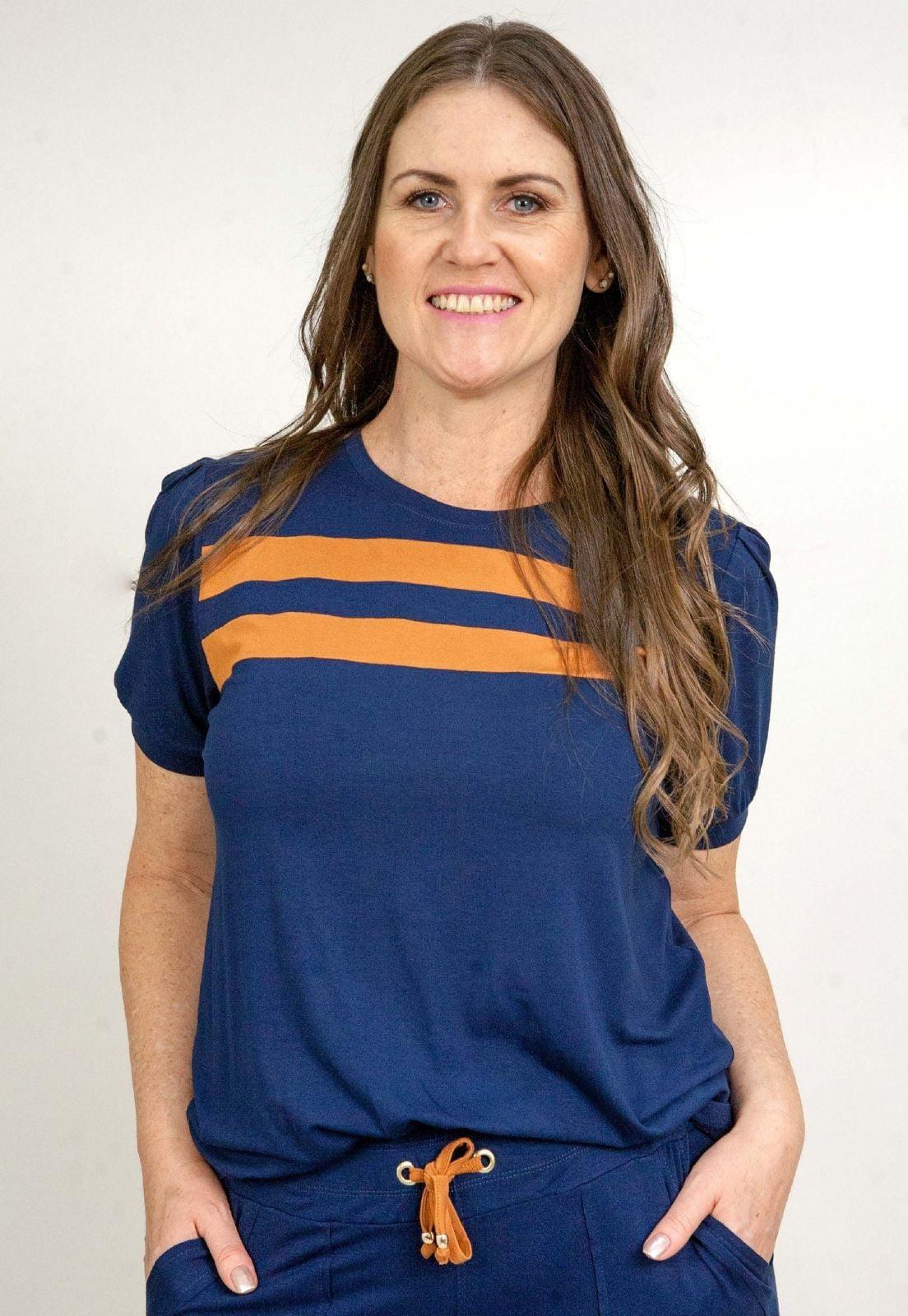 Conjunto Bea Abdalla Calça Bicolor Azul Marinho