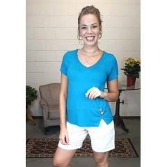 Blusa Bea Abdalla Decote V Abertura Na barra Azul
