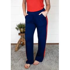Calça Bea Abdalla Pantalona Bicolor Azul Marinho