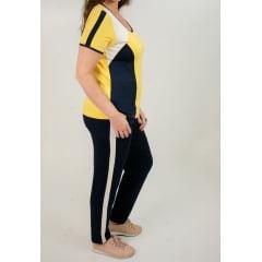 Conjunto Bea Abdalla Calça Amarelo/Azul Marinho