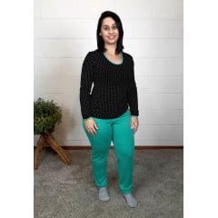 Pijama Bea Abdalla Blusa Estampada Preto/Verde