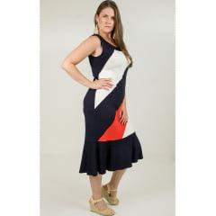 Vestido Bea Abdala tricolor Azul Marinho