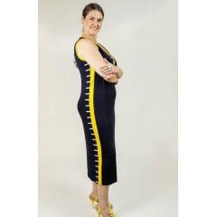 Vestido Bea Abdalla Faixa Lateral Marinho/Amarelo