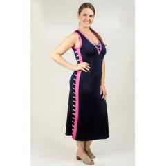 Vestido Bea Abdalla Faixa Lateral Marinho/Rosa