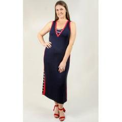 Vestido Bea Abdalla Faixa Lateral Azul/Vermelho