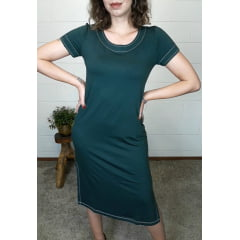 Vestido Bea Abdalla Básico Manga Curta Verde