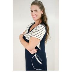 Vestido Bea Abdalla Manga Listra Azul Marinho