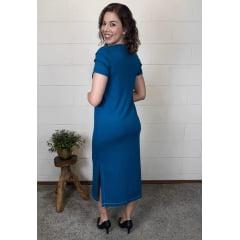 Vestido Bea Abdalla Midi Com Detalhes na Manga Azul