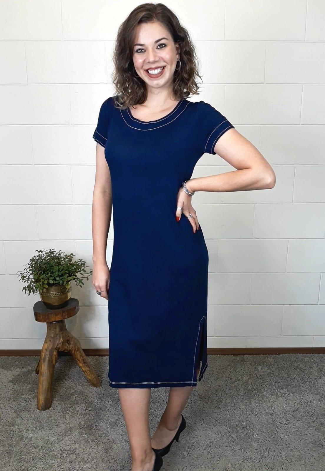 Vestido Bea Abdalla Básico Manga Curta Azul Marinho